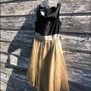 Gary Graham black silk dress w/ cream overlay